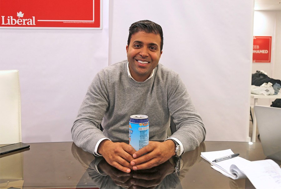 Taleeb Noormohamed at his Liberal Party of Canada campaign office in 2019