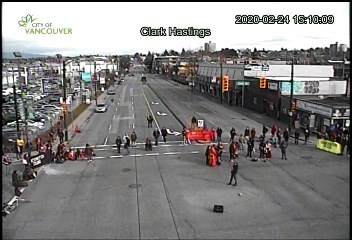E Hastings looking east at Clark Dr. Photo via City of Vancouver traffic cameras