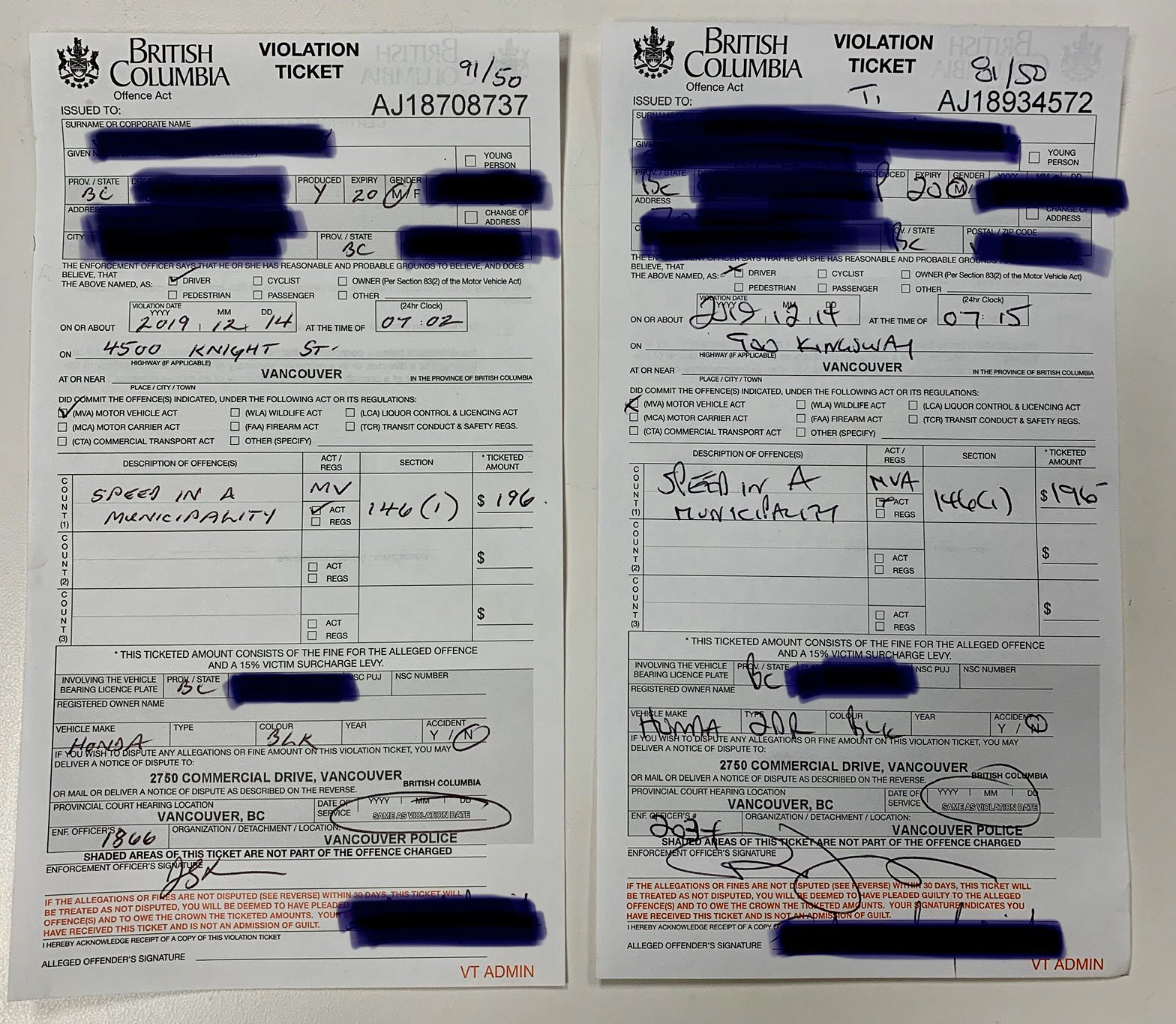 Vancouver driver gets two speeding tickets within 13 minutes and about one kilometre