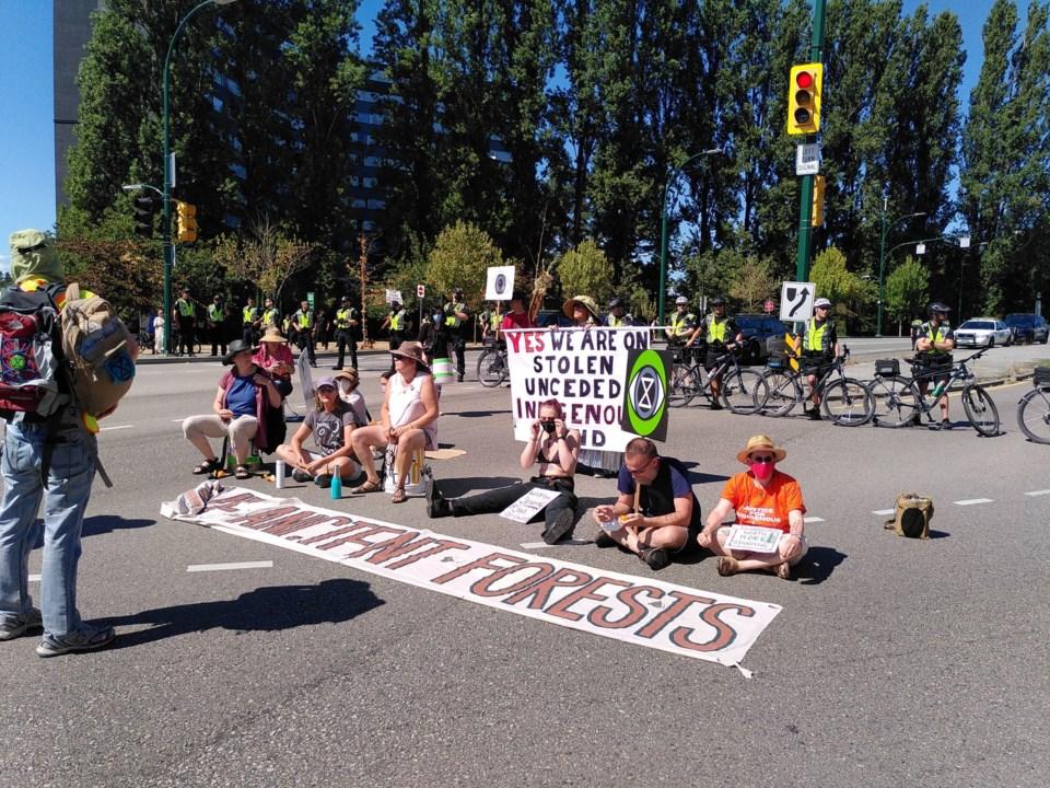Burrard Street Bridge protest
