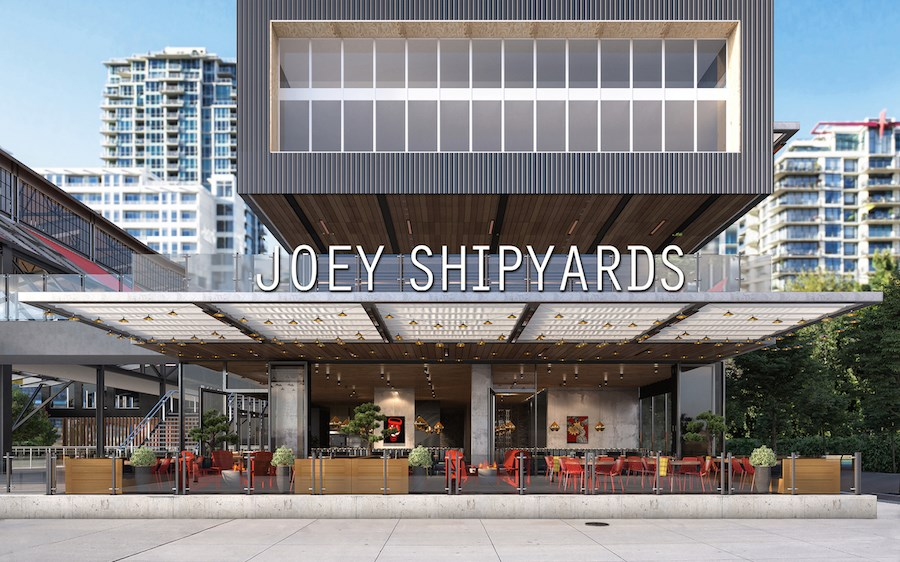 JOEY Shipyards' exterior. Rendering courtesy JOEY Restaurant Group