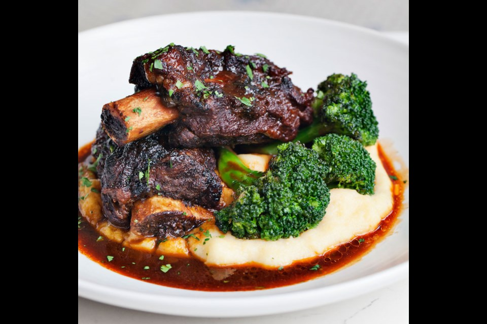 Polenta is featured prominently in dishes on DiBeppe's Polenta Festival menu, like this Tuscan short rib dish with broccolini