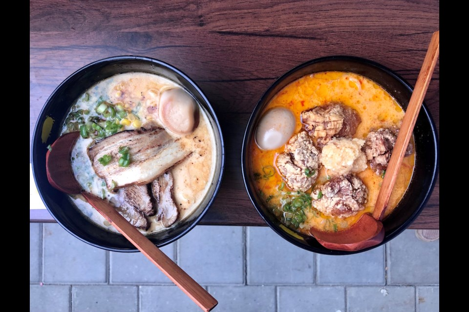 Pork Miso, left, and Karaage Pork Spicy Garlic ramen at Kinton Ramen. Photo: Lindsay William-Ross/Vancouver Is Awesome