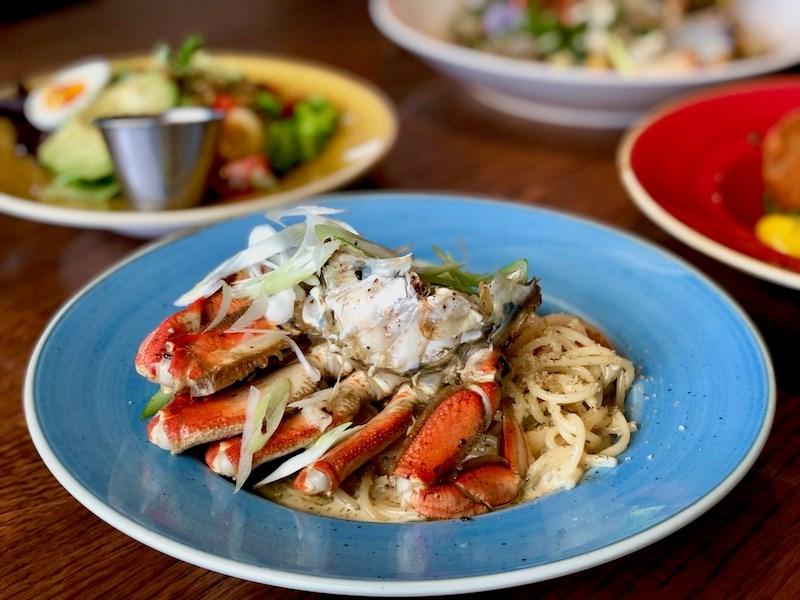 Crab and Prawn Spaghetti from the Crab Fest menu at Qualicum Beach Cafe