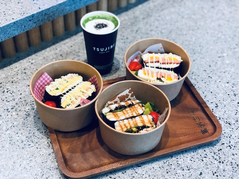 A black sesame matcha latte and three onigirazu (sushi sandwiches) from Tsujiri's Toyota dealership location. Photo by Lindsay William-Ross/Vancouver Is Awesome