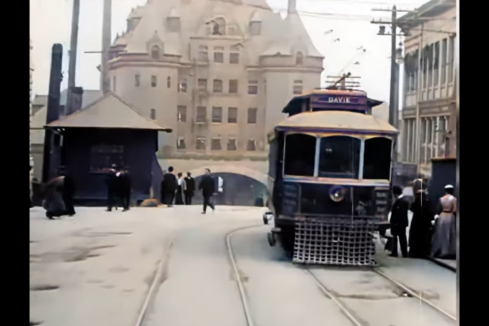 A colourized version of WIlliam Harbek's 1907 film taken from a Vancouver trolley has been remastered, colourized and enhanced.