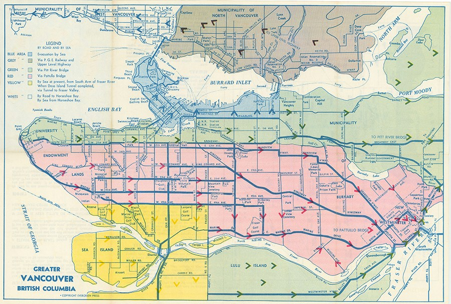 Civil Defence evacuation and survival plan for Greater Vancouver target area