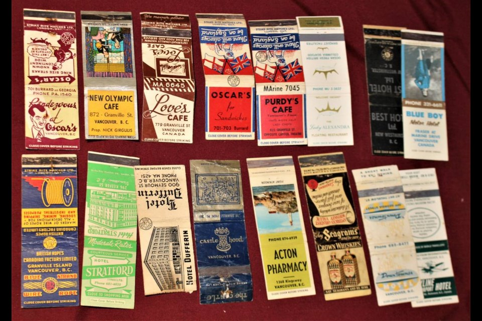 The massive collection of B.C. matchbooks for sale.