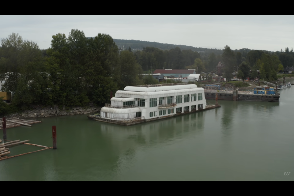 The McBarge sits in the Fraser River off Maple Ridge.