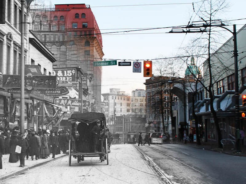 Looking back down Hastings towards the Dominion Building. (1910 and Now) – On This Spot / Vancouver Archives AM54-S4-: Str P210