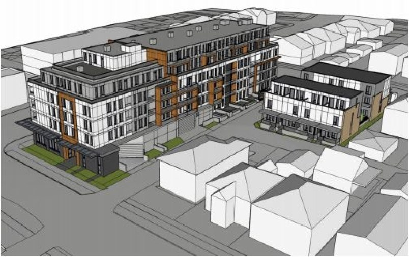 One building in the co-development project would house 95 market rental suites, while the other would feature 12 units in a stacked townhouse complex.