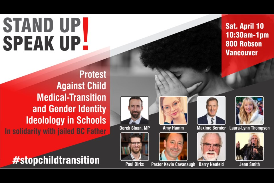 """Deemed an """"anti-trans"""" protest by the City of Vancouver, the gathering is expected to hear from Chilliwack school board trustee Barry Neufeld and the current leader of the People's Party of Canada."""