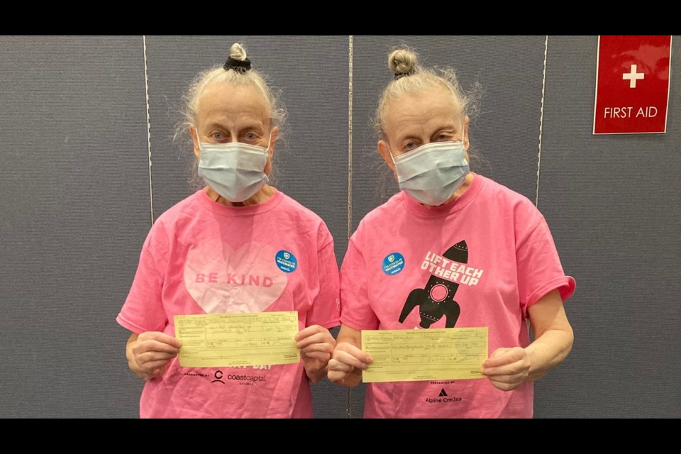 The Vancouver-based acting duo from 'A Series of Unfortunate Events' received their coronavirus vaccines from Vancouver Coastal Health this week.