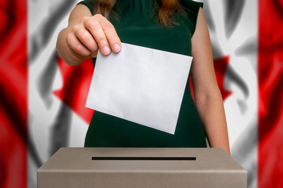Young Canada vote stock