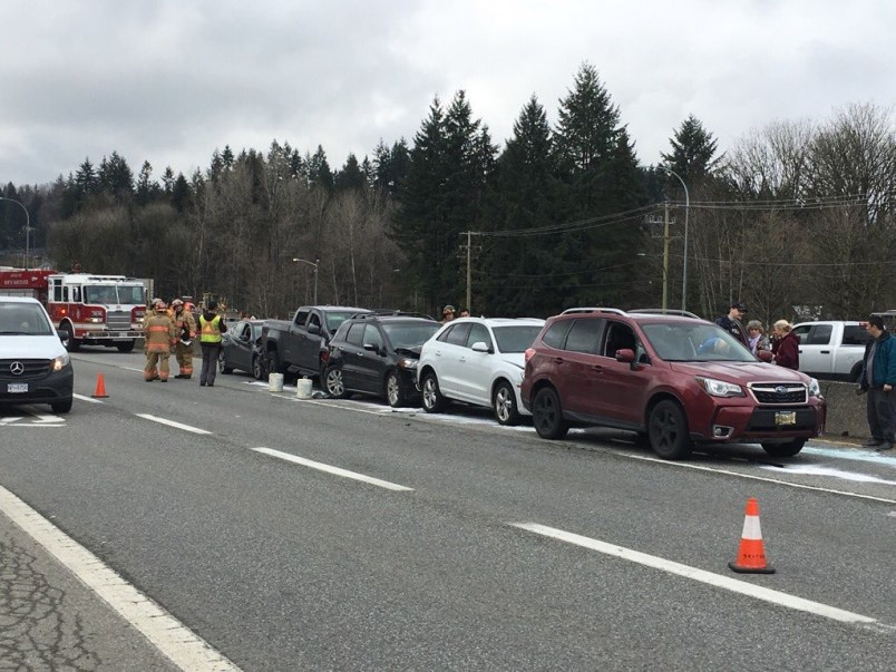 Emergency crews respond to seven-vehicle pileup in North Vancouver