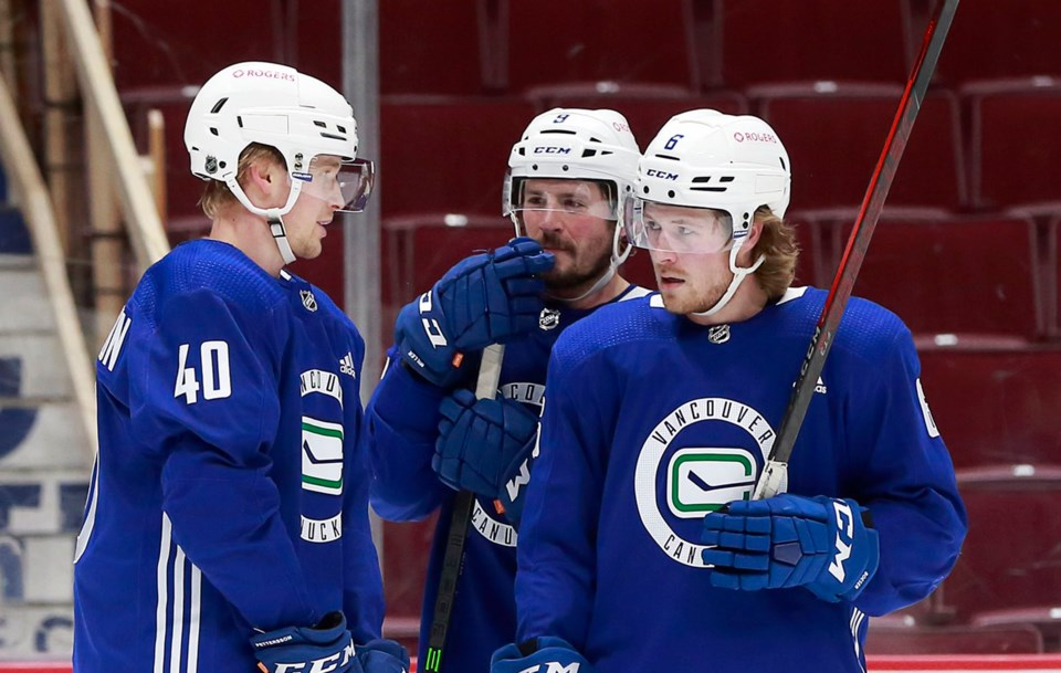 Pettersson Miller Boeser training camp 2021 canucks twitter