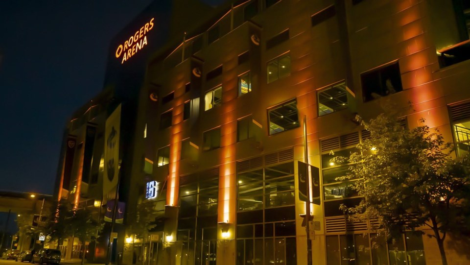 Rogers Arena in orange