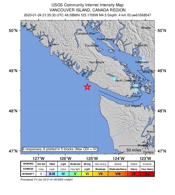 Quake hits off west coast of Vancouver Island