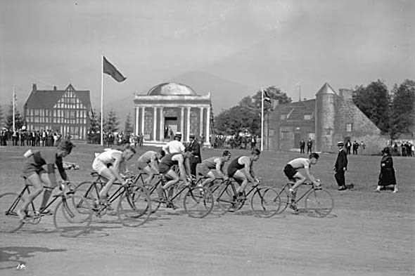 1926 - Bicycle racers take off at the Caledonian Games at Hastings Park.