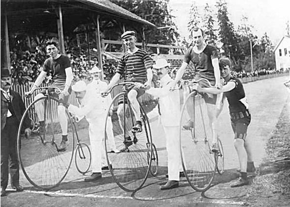 1902 - A high wheel bicycle race at Brockton Point, starring T.A. Lyttleton, Colin Marshall, and W.F. Findlay.