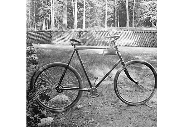 1903 - Chainless bicycle at old pond in Stanley Park
