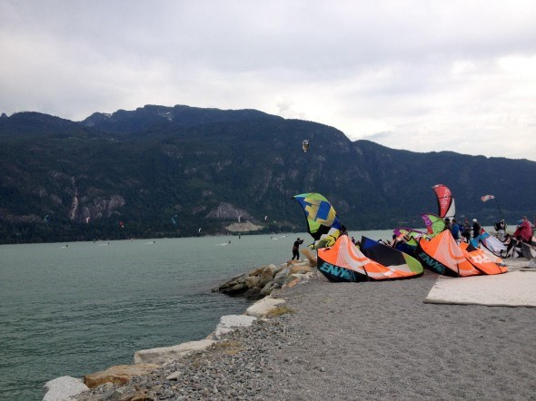 kiteboarding at the Squamish Spit