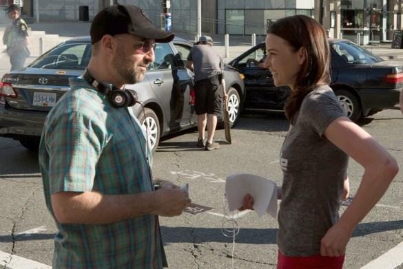 Continuum showrunner Simon Barry directs star Rachel Nichols near B.C. Place.