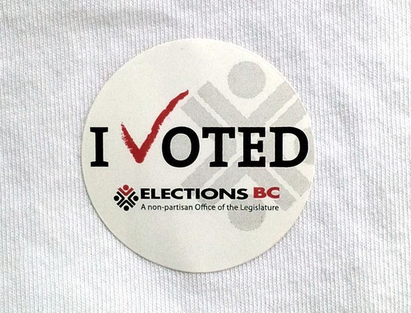 Voter sticker from the last Provincial election