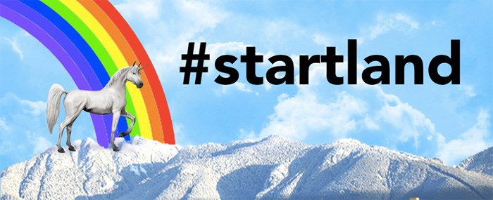 We don't know why Startland's logo is a unicorn next to a rainbow, but we love it.