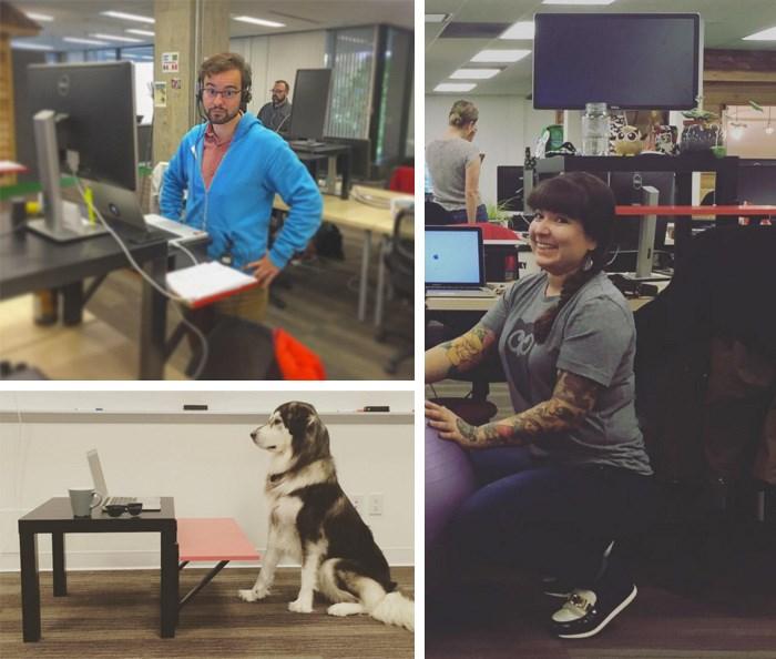 The OLD standing desks at Hootsuite. Photos: @rjgreenstone @tracimer @brionycrane @samelaanderson @jaimestein
