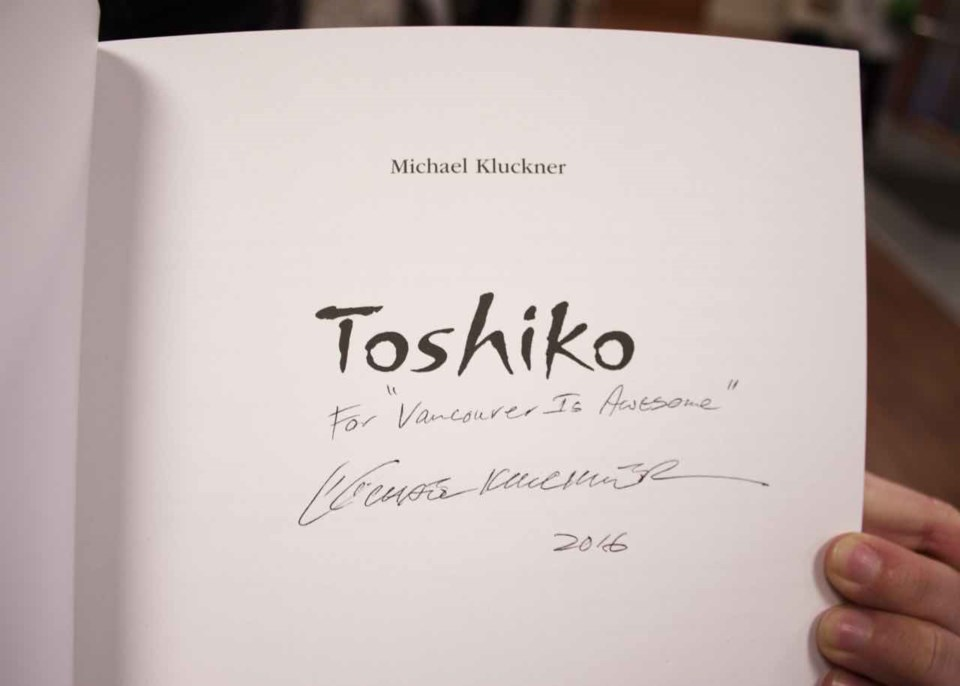 A signed copy of Toshiko by Michael Kluckner. Photo by Philip Moussavi