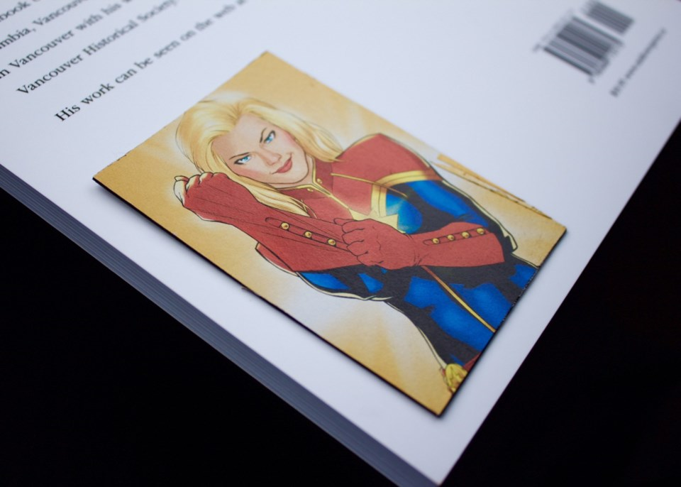 An upcycled magnet of Captain Marvel. Photo by Philip Moussavi