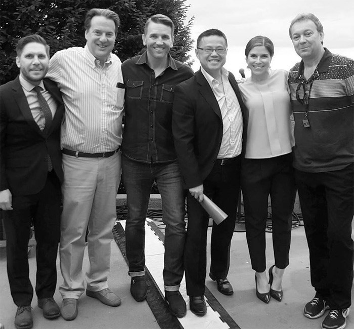 2015 fireworks jury from L to R: Bob Kronbauer, Park Board Chairman John Coupar, Westend BIA's David Buddle, Councillor Raymond Louie, Global's Kaitlyn Herbst, Concord Pacific's Matt Meehan