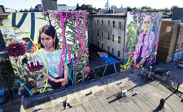 Photo courtesy of ROVE. Mural by Drew Young and Jay Senetchko.