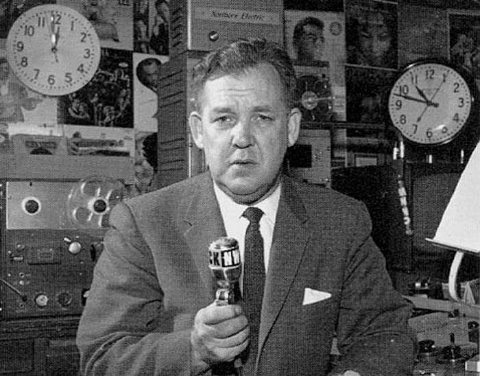 Jack Webster at CKNW, sometime in the 60's/70's. Photo: bcradiohistory.com