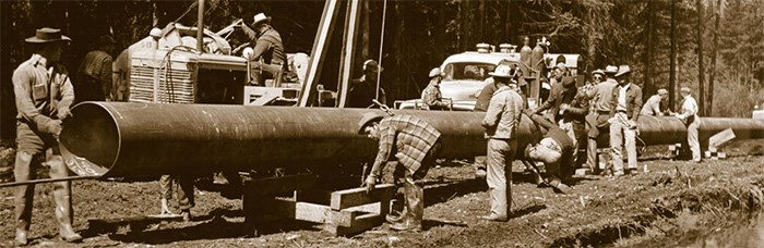 Construction of the original Trans Mountain pipeline, 1953. Photo: CEPA