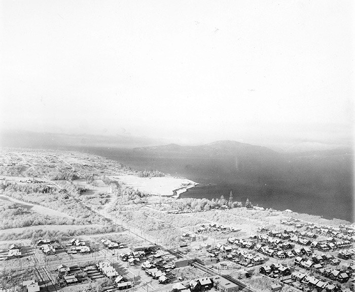 Aerial view looking west over Point Grey. Vancouver Archives: Van Sc P69.