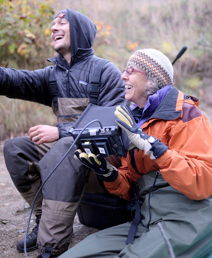 Cinematographer Athen Merrick with Nettie Wild on location filming for Uninterrupted. Photo: Sarah Butterfield