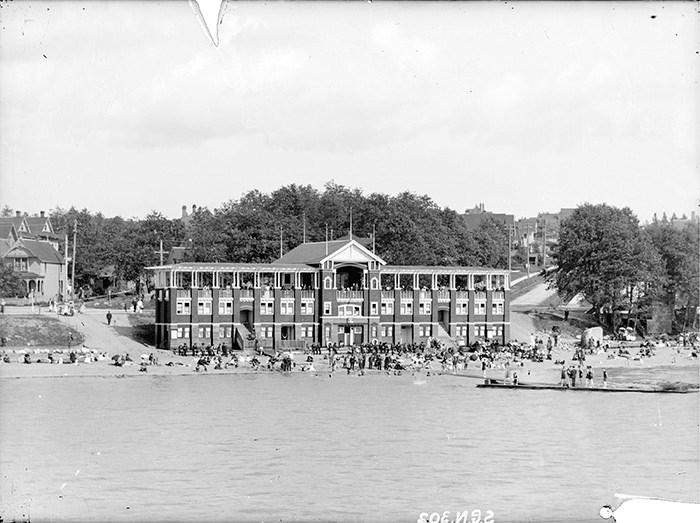 English Bay's original bathhouse. Photo: City of Vancouver Archives.
