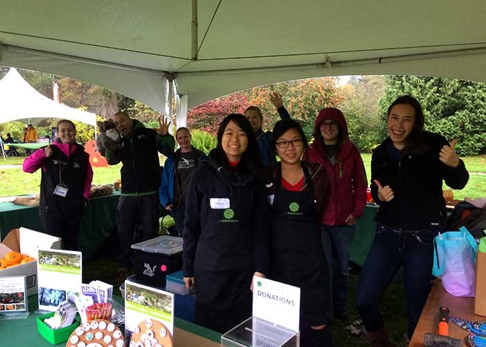 Student volunteers at the annual Apple Fest