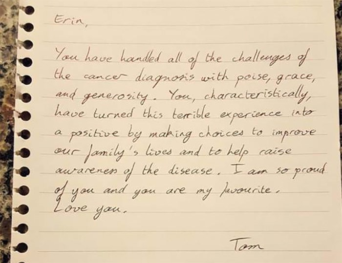 Tom Frohlich's note to his wife moved her to tears.
