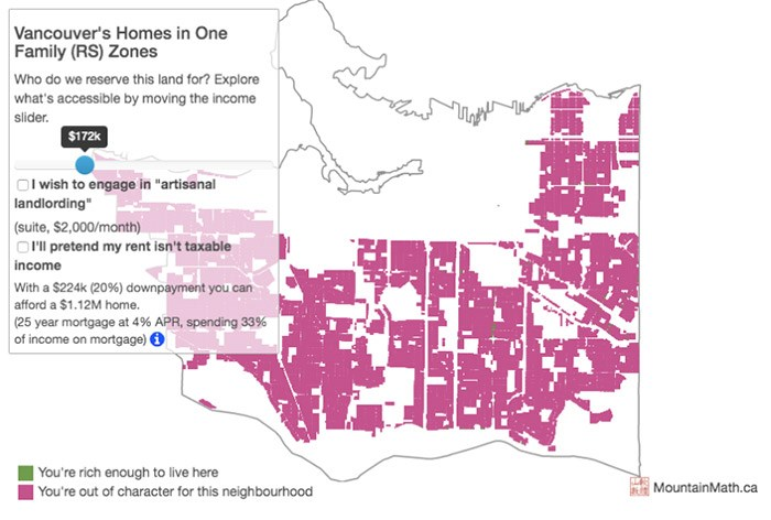 Mountain Math lets homebuyers use a slider to turn the pink (can't afford) areas into green (can afford) areas based on your family income.   Photograph By Mountain Math/Jens von Bergmann