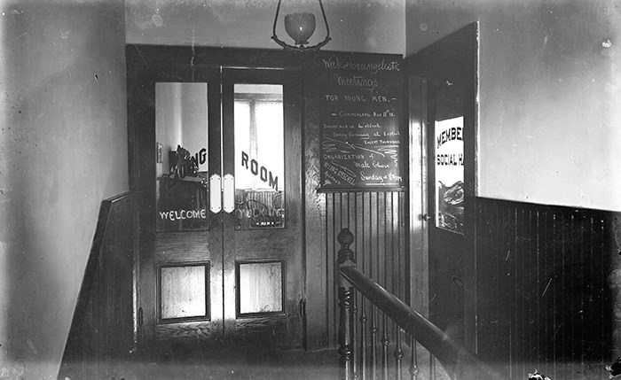 Entrance of the Vancouver Reading Room. City of Vancouver Archives (AM54-S4-: SGN 136).