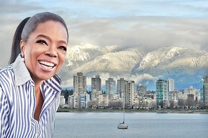 Oprah on the cover of her latest book poorly photoshopped onto a stock image of Vancouver is what you need in your life today