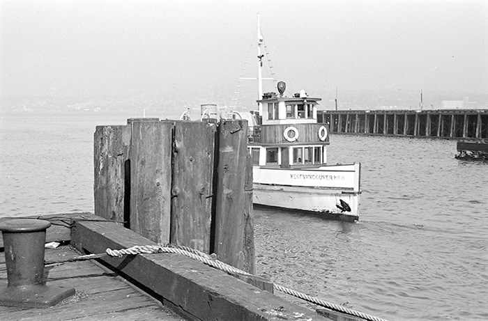West Vancouver Ferry No. 6 approaching dock, 1939. City of Vancouver Archives. Ref: CVA 260-991.