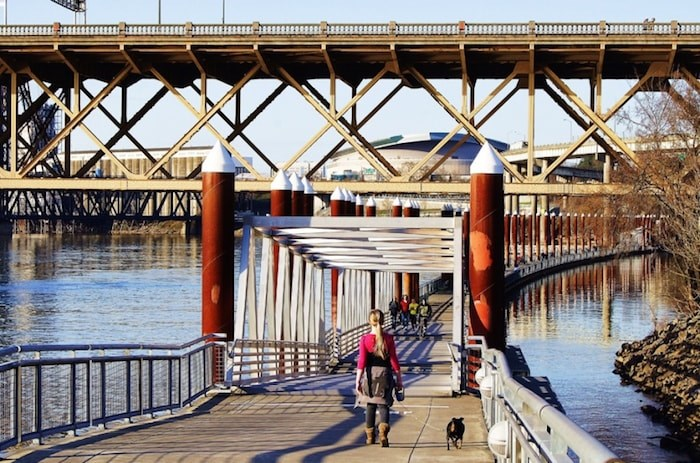 A proposed connection between Sapperton Landing Park and Westminster Pier Park would include a floating greenway. City officials say it would rise and fall with the tide, such as what's been implemented in the Vera Katz Eastbank Trail on the Willamette River in Portland, Oregon. (PHOTO COURTESY OF PORTLAND PARKS & RECREATION, PORTLAND, OR.)