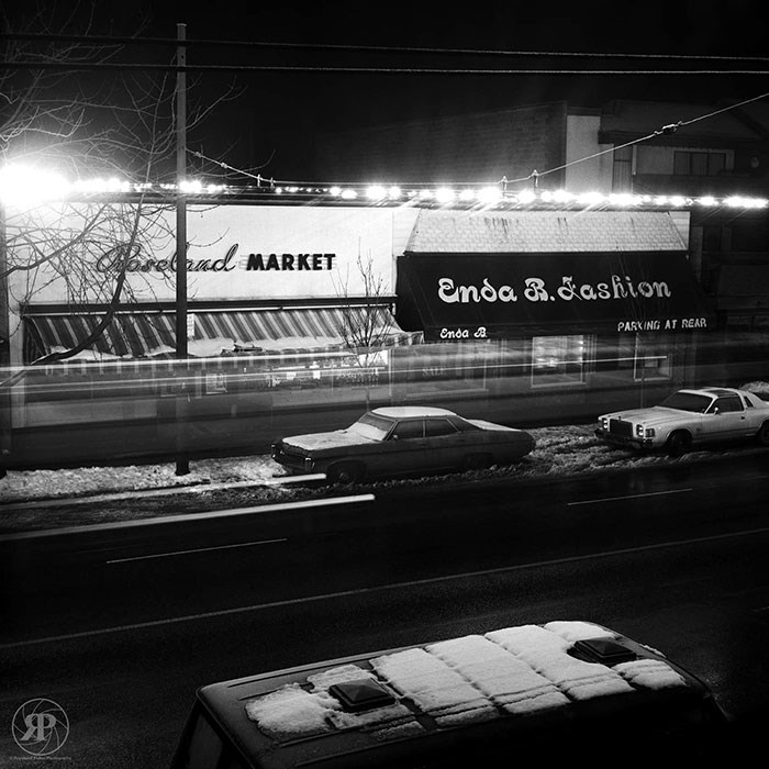Passing Trolley Bus, W. 10th Avenue, Vancouver, 1985