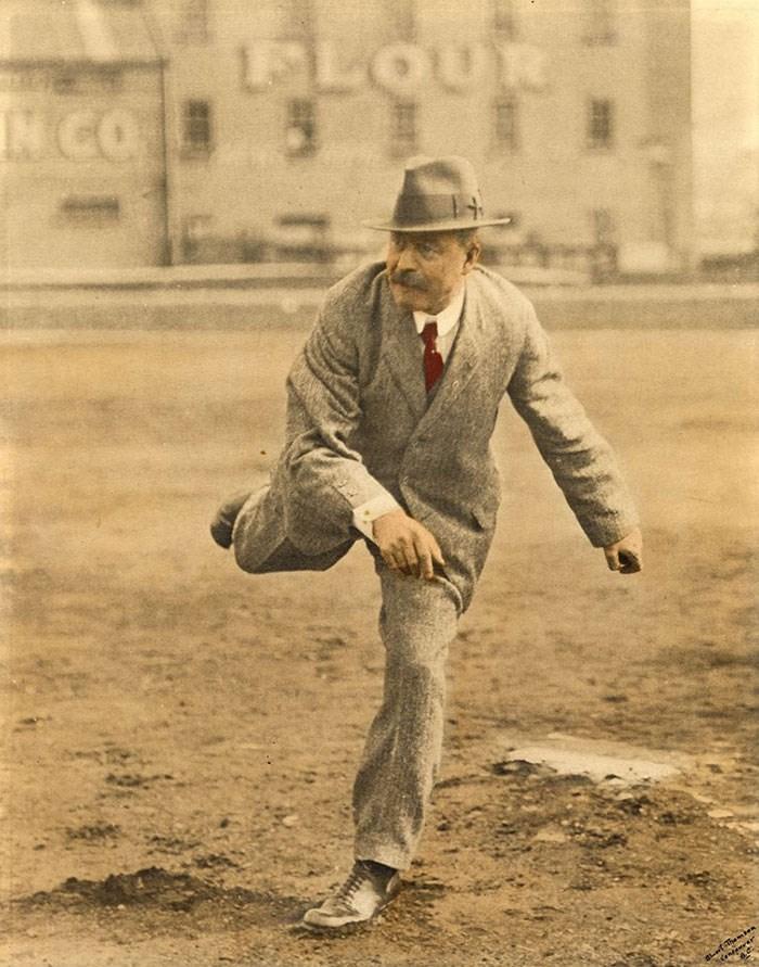 Mayor Taylor playing baseball. Vancouver Archives Item: CVA 1477-222