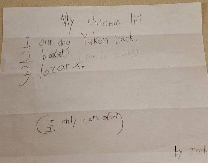 Jeff Hayes' son Josh's letter to Santa. Note the footnote. (Photo courtesy BC SPCA)