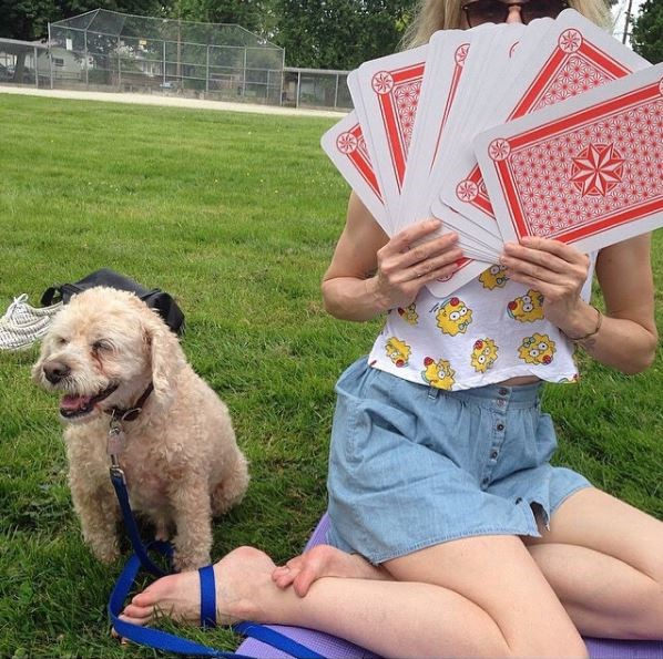 Falcor and Bach playing cards/Emily Bach